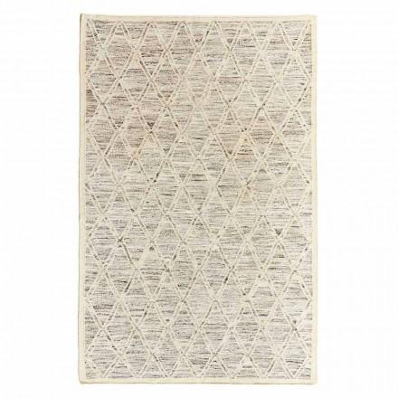 Moderne tæppe i uld og bomuld elfenben med fantasi til stuen - Peppo