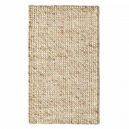 Moderne håndvævet uld og bomuldsstue tæppe - vrag