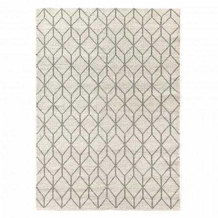 Moderne håndvævet tæppe med geometrisk design i uld til stue - Geome