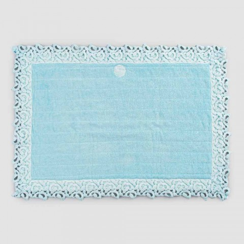 Bademåtte i frottébomuld og linned med Poema-blonder 2 farver - Cuorotto