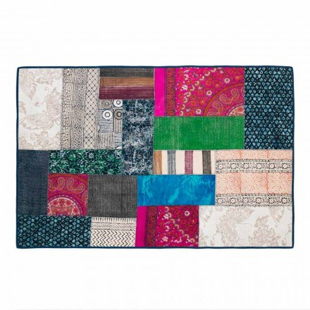 Rektangulært tæppe i blå kilim bomuld eller farvet patchwork - fiber