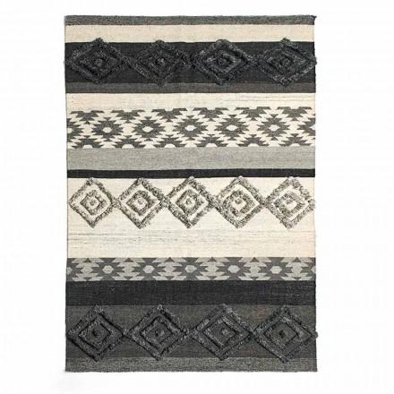 Rektangulært tæppe i uld, bomuld og viskose til moderne stue - Zorro