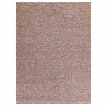 Rektangulært tæppe i moderne design i silke og brun eller creme bomuld - Kuta