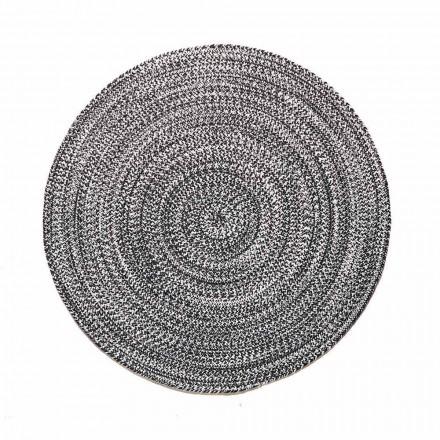 Moderne rundt tæppe til stue i håndvævet bomuld - Redondo