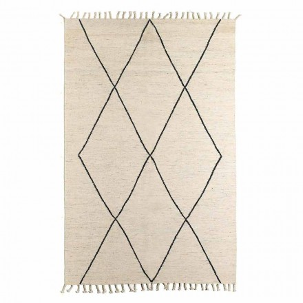 Stue tæppe i uld og bomuld med moderne geometrisk design - Metria