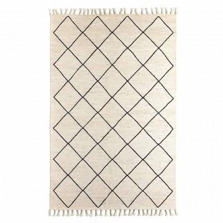 Moderne stue tæppe med geometrisk mønster i uld og bomuld - Metria