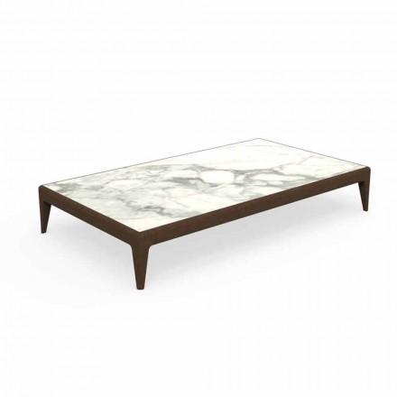 Sofabord med lavt have L160cm i teak og Capraia stentøj - Cruise Teak Talenti
