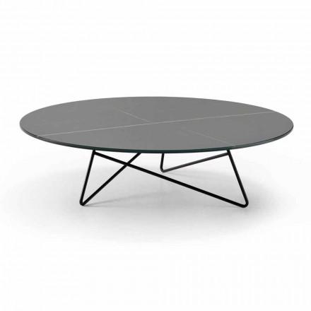 Rundt sofabord til stue i metal og glas med luksus marmoreffekt - Magali