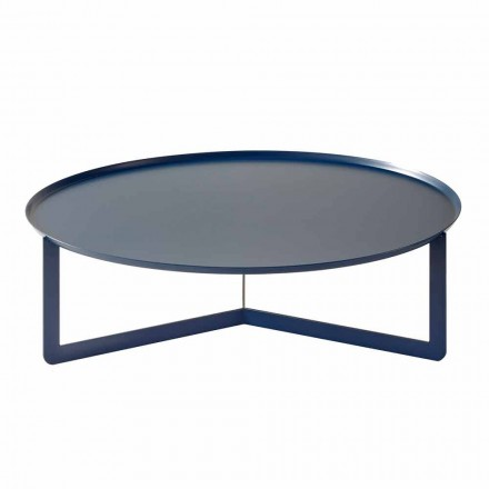 Lavt udendørs runde bord i farvet metal fremstillet i Italien - Stephane