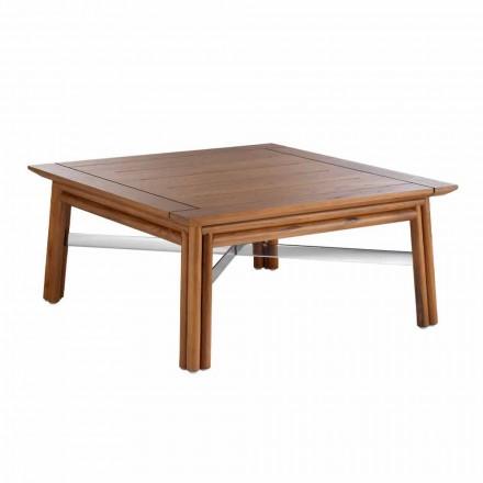 Lavt firkantet udendørs sofabord i naturligt træ eller sort design - Suzana