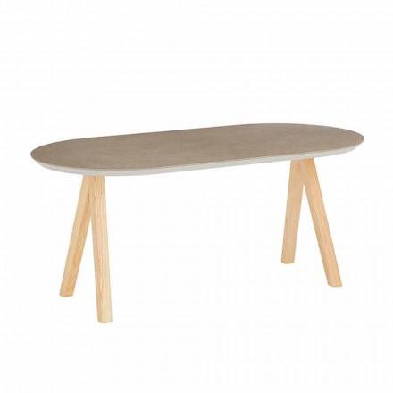 Sofabord i keramisk og naturligt træ Moderne ovalt design - Amerigo