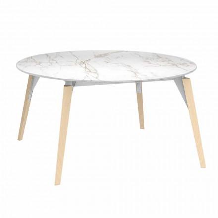 Rundt sofabord marmoreffekt top, 3 farver 2 størrelser - Faz træ af Vondom