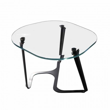 Håndlavet sofabord i glas og stål fremstillet i Italien - Marbello