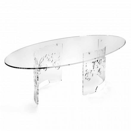 Sofabord i røget eller gennemsigtig plexiglas med dekoreret bund - Crassus