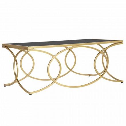 Rektangulært sofabord i jern og designspejl - munterhed