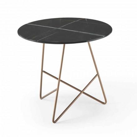 Rundt sofabord i metal og luksusmarmoreffektglas - Magali