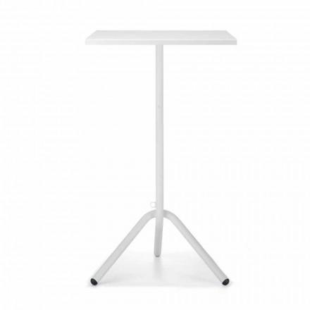 Høj firkantet udendørs bord i metal og plader fremstillet i Italien - Archibald