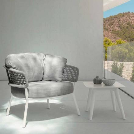 Moon Alu udendørs bord af Talenti, 40x40 med porcelæn stentøj