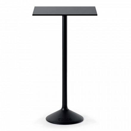 Høj kvadratisk udendørs bord i HPL støbejernsmetall fremstillet i Italien - Crispian