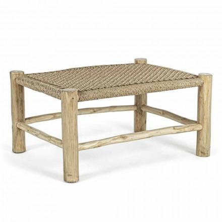 Have sofabord i teakgrene med top i vævet fiber - Tecno