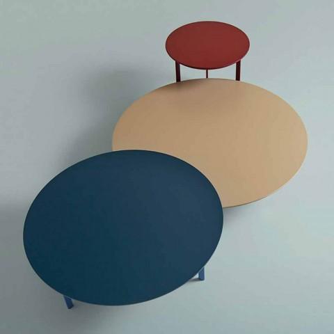 3 ben sofabord i stål og farvet træplade - smuk