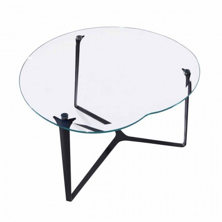 Sofabord, håndlavet, i glas og stål fremstillet i Italien - Alicante