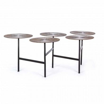 Homemotion Sofabord med 5 runde aluminiumstoppe - Pollino