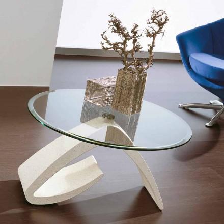 Sofabord med rund top i glas fremstillet i Italien, ædle - Brachetto