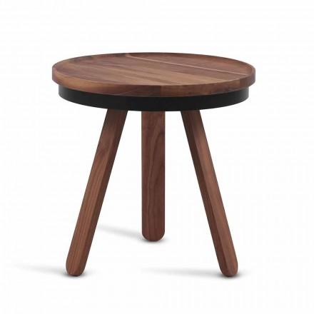 Design Sofabord med runde top og ben af massivt træ - Salerno