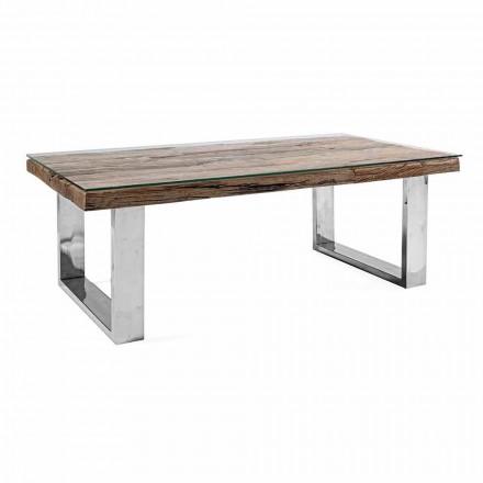 Design Sofabord i træ, glas og stål Homemotion - Frederic