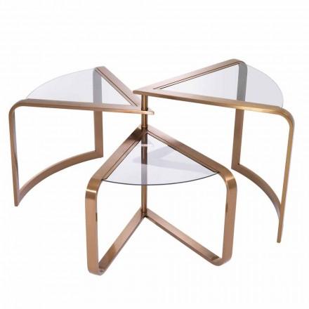 Design sofabord i glas med kobber finish detaljer - Carpi