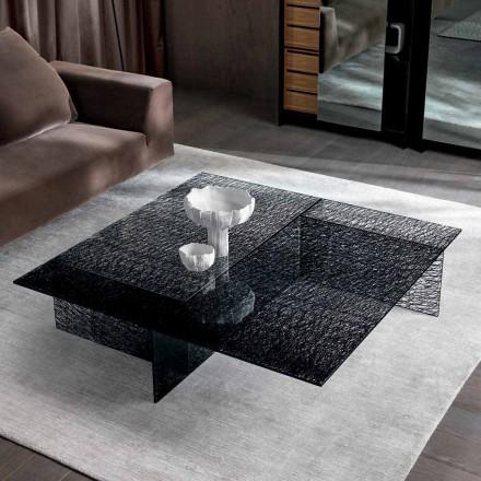 Design Sofabord Ekstralt dekoreret glas fremstillet i Italien - Sestola