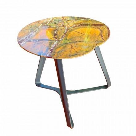 Sofabord håndlavet i marmor og stål fremstillet i Italien - Prince