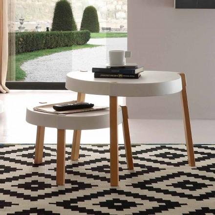 Sofabord i skandinavisk stil Pineto med hvid polypropylenplade