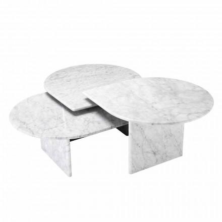 Sofabord i hvidt Carrara marmorformat på 3 stykker - Marsala