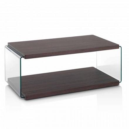Sofabord i valnød-mdf og gennemsigtigt glas i 2 størrelser - Mindie