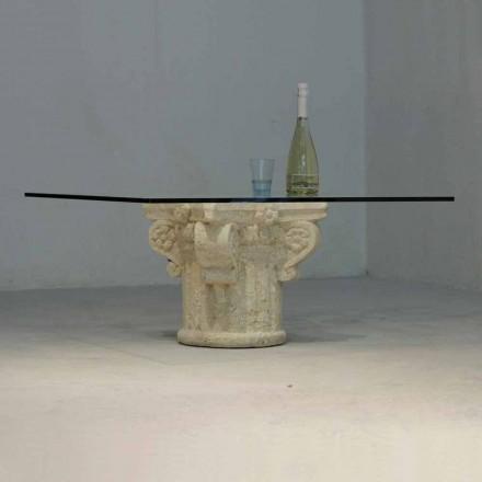 Vicenza sten sofabord og håndskårne Balos krystal