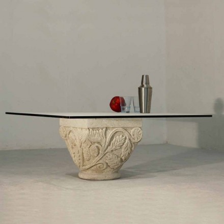 Håndskåret bord i Vicenza Stone og Mytros krystal