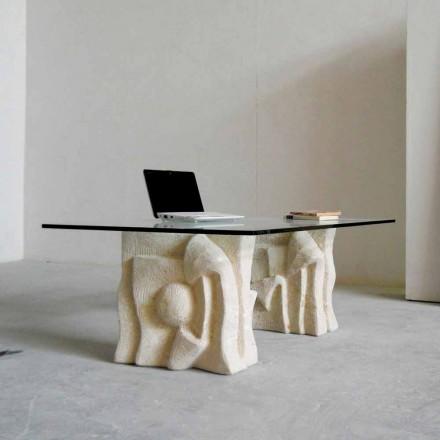 Vicenza sten sofabord og Priamo-S krystal, håndskårne