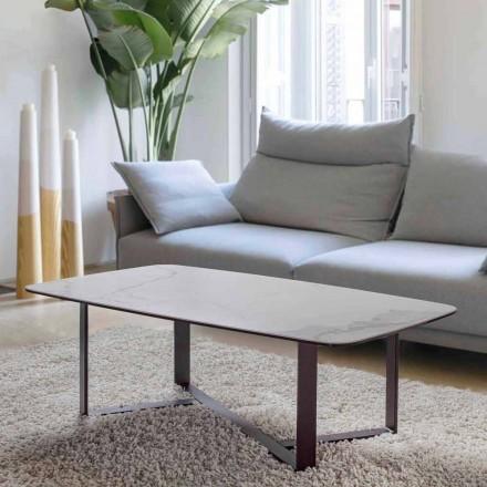 Sofabord i keramikglas med bund i malet metal - Camilo