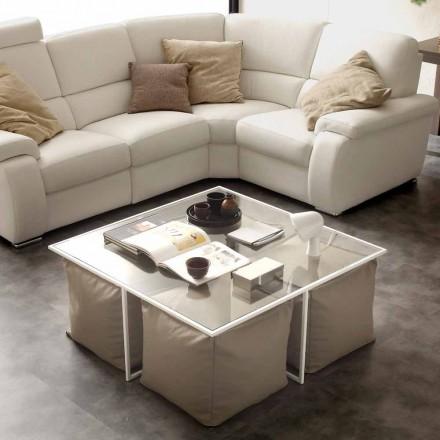 Sofabord glas stue med 4 skammel i imiteret læder Lula