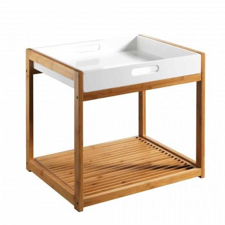 Moderne sofabord af bambustræ med hvid MDF-bakke - Volly