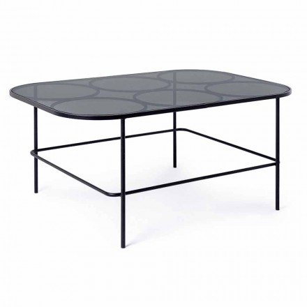 Homemotion Moderne sofabord i glas og malet stål - Rondino