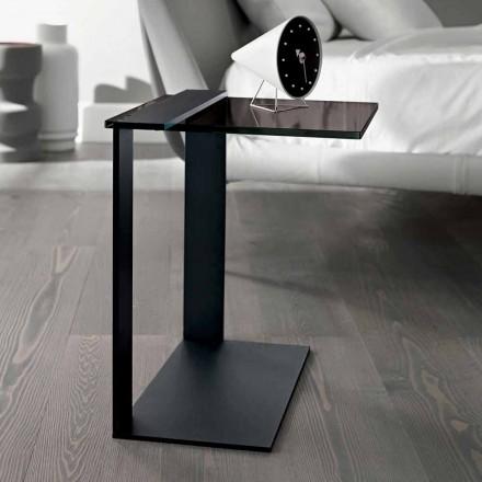 Moderne metal og røget eller klart glas sofabord fremstillet i Italien - Teilor