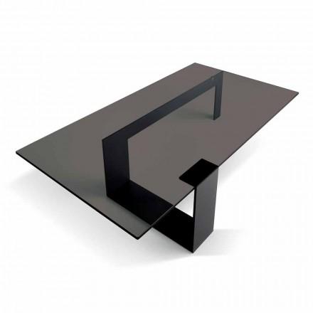 Moderne sofabord med røget glasplade og metalbund lavet i Italien - Scoby
