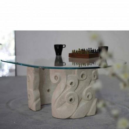 Ovalt sofabord i Vicenza sten og krystal, håndskårne Lindos