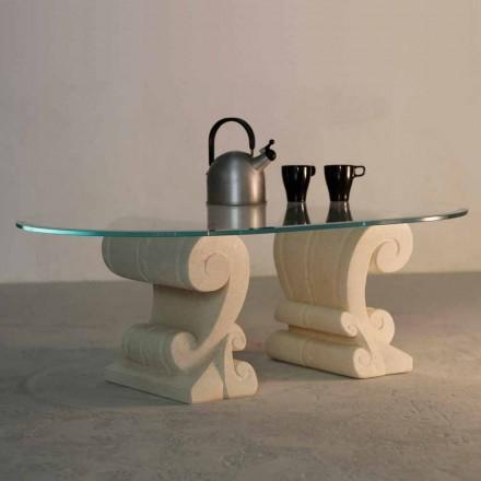 Ovalt Sofabord Håndskåret Vicenza sten og Aracne-S krystal