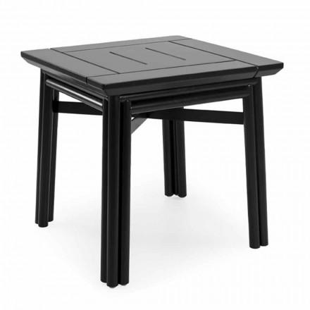 Udendørs sofabord i naturligt eller sort træ, 2 størrelser - Suzana