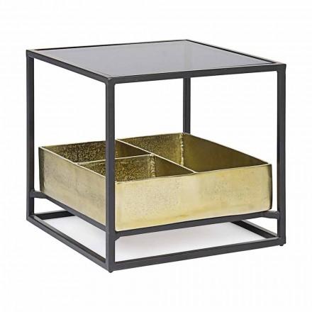 Homemotion firkantet sofabord med glasplade - Sigismondo