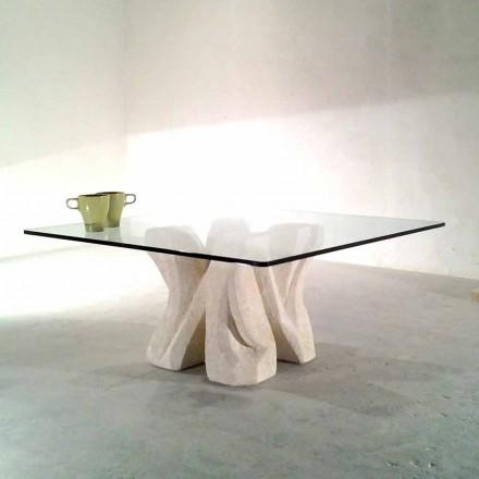 Square Vicenza sten sofabord og håndskårne krystal Kos